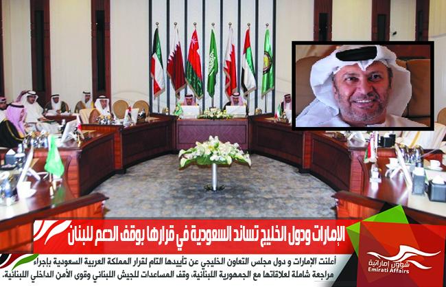 الإمارات ودول الخليج تساند السعودية في قرارها بوقف الدعم للبنان