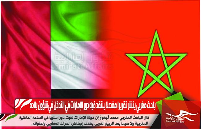 باحث مغربي ينشر تقريرا مفصلا ينتقد فيه دور الإمارات في التدخل في شؤون بلاده