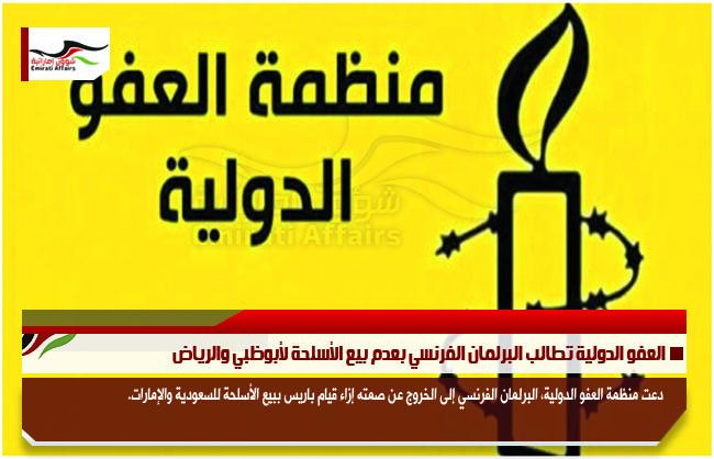 العفو الدولية تطالب البرلمان الفرنسي بعدم بيع الأسلحة لأبوظبي والرياض