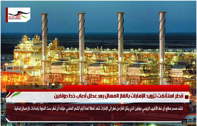 قطر استأنفت تزويد الإمارات بالغاز المسال بعد عطل أصاب خط دولفين
