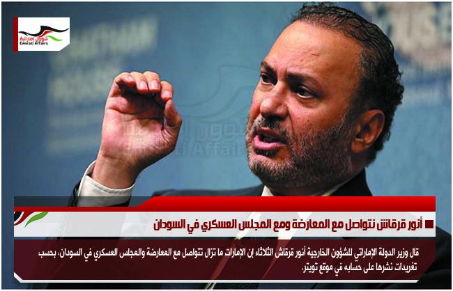 أنور قرقاش نتواصل مع المعارضة ومع المجلس العسكري في السودان