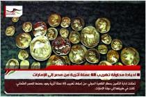 احباط محاولة تهريب 68 عملة أثرية من مصر إلى الإمارات