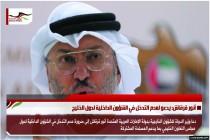 أنور قرقاش: يدعو لعدم التدخل في الشؤون الداخلية لدول الخليج