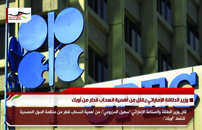 وزير الطاقة الإماراتي يقلل من أهمية انسحاب قطر من أوبك