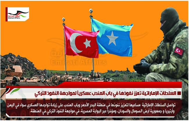 السلطات الإماراتية تعزز نفوذها في باب المندب عسكرياً لمواجهة النفوذ التركي