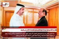 عبد الله بن زايد يبحث مع هادي سبل استعادة الأمن في اليمن