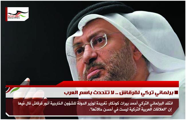 برلماني تركي لقرقاش .. لا تتحدث باسم العرب