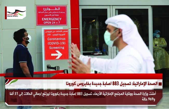 الصحة الإماراتية: تسجيل 883 اصابة جديدة بفايروس كورونا