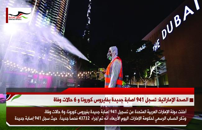 الصحة الإماراتية: تسجل 941 اصابة جديدة بفايروس كورونا