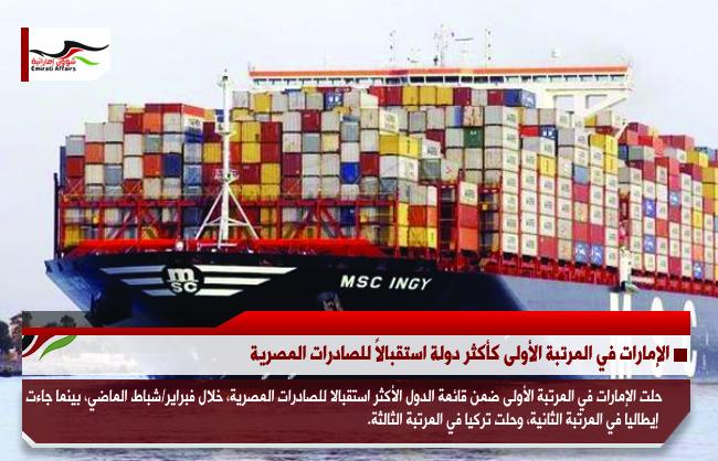 الإمارات في المرتبة الأولى كأكثر دولة استقبالاً للصادرات المصرية