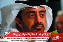 عبد الله بن زايد.. على قطر أن تكف عن التدخل بجيرانها
