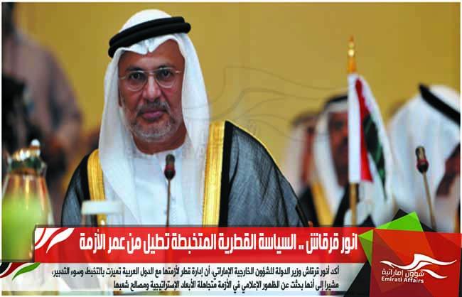 انور قرقاش .. السياسة القطرية المتخبطة تطيل من عمر الأزمة