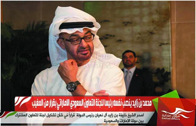 محمد بن زايد ينصب نفسه رئيسا للجنة التعاون السعودي الاماراتي بقرار من المغيب