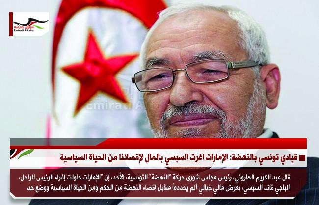 قيادي تونسي بالنهضة: الإمارات اغرت السبسي بالمال لإقصائنا من الحياة السياسية