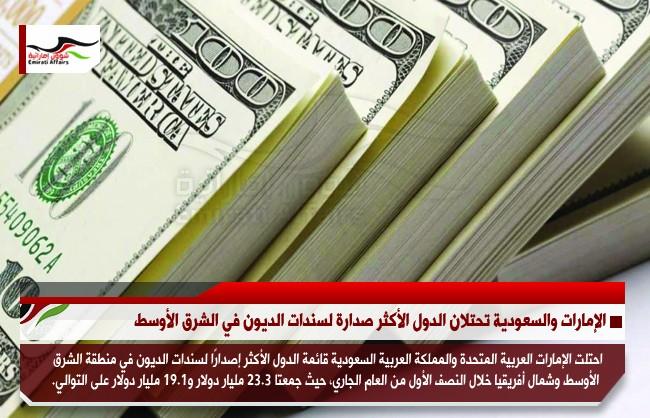الإمارات والسعودية تحتلان الدول الأكثر صدارة لسندات الديون في الشرق الأوسط
