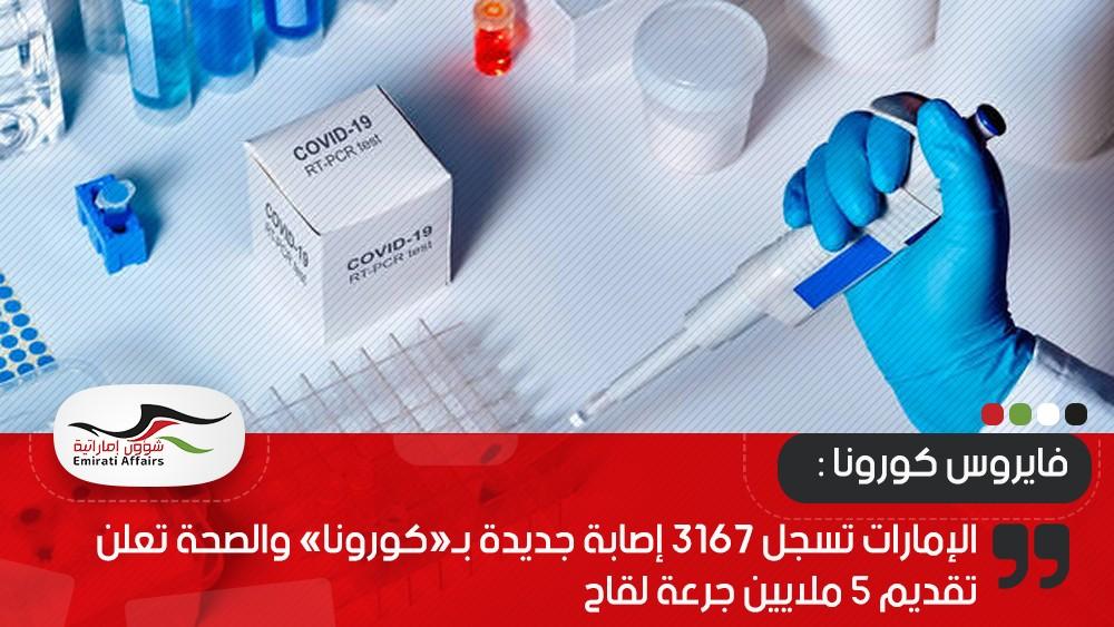 الإمارات تسجل 3167 إصابة جديدة بـ«كورونا» والصحة تعلن تقديم 5 ملايين جرعة لقاح
