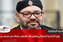 وزير الخارجية الإماراتي يسلم ملك المغرب رسالة من محمد بن زايد