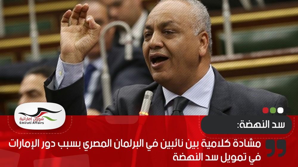 مشادة كلامية بين نائبين في البرلمان المصري بسبب دور الإمارات في تمويل سد النهضة