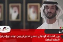 وزير الاقتصاد الإماراتي: نسعى لتجاوز تريليون دولار مع إسرائيل بالعقد المقبل