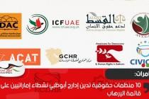 10 منظمات حقوقية تدين إدارج أبوظبي نشطاء إماراتيين على قائمة الإرهاب