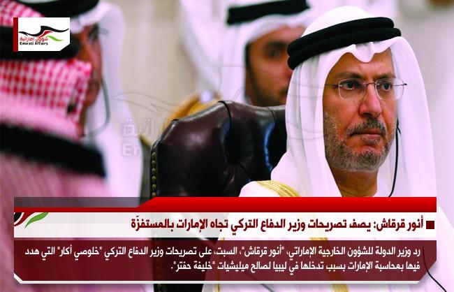 أنور قرقاش: يصف تصريحات وزير الدفاع التركي تجاه الإمارات بالمستفزّة