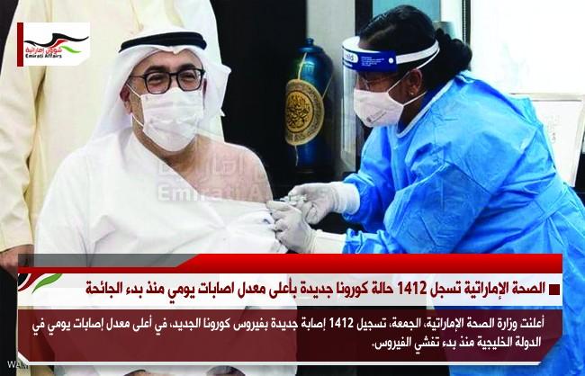 الصحة الإماراتية تسجل 1412 حالة كورونا جديدة بأعلى معدل اصابات يومي منذ بدء الجائحة