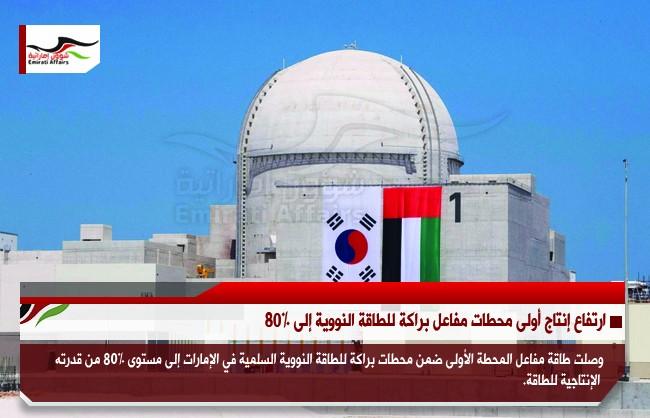 ارتفاع إنتاج أولى محطات مفاعل براكة للطاقة النووية إلى 80%
