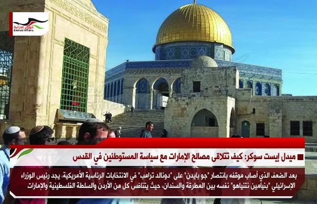 ميدل إيست سوكر: كيف تتلاقى مصالح الإمارات مع سياسة المستوطنين في القدس